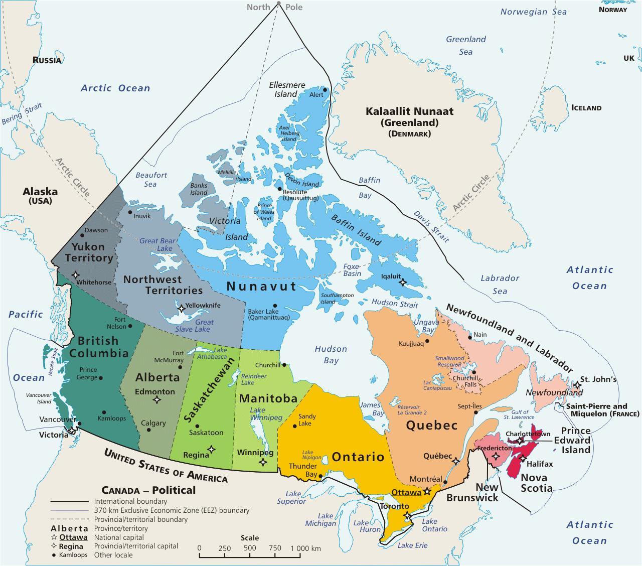 Fargade Karta Over Kanada Karta Over Kanada Utan Namn Norra