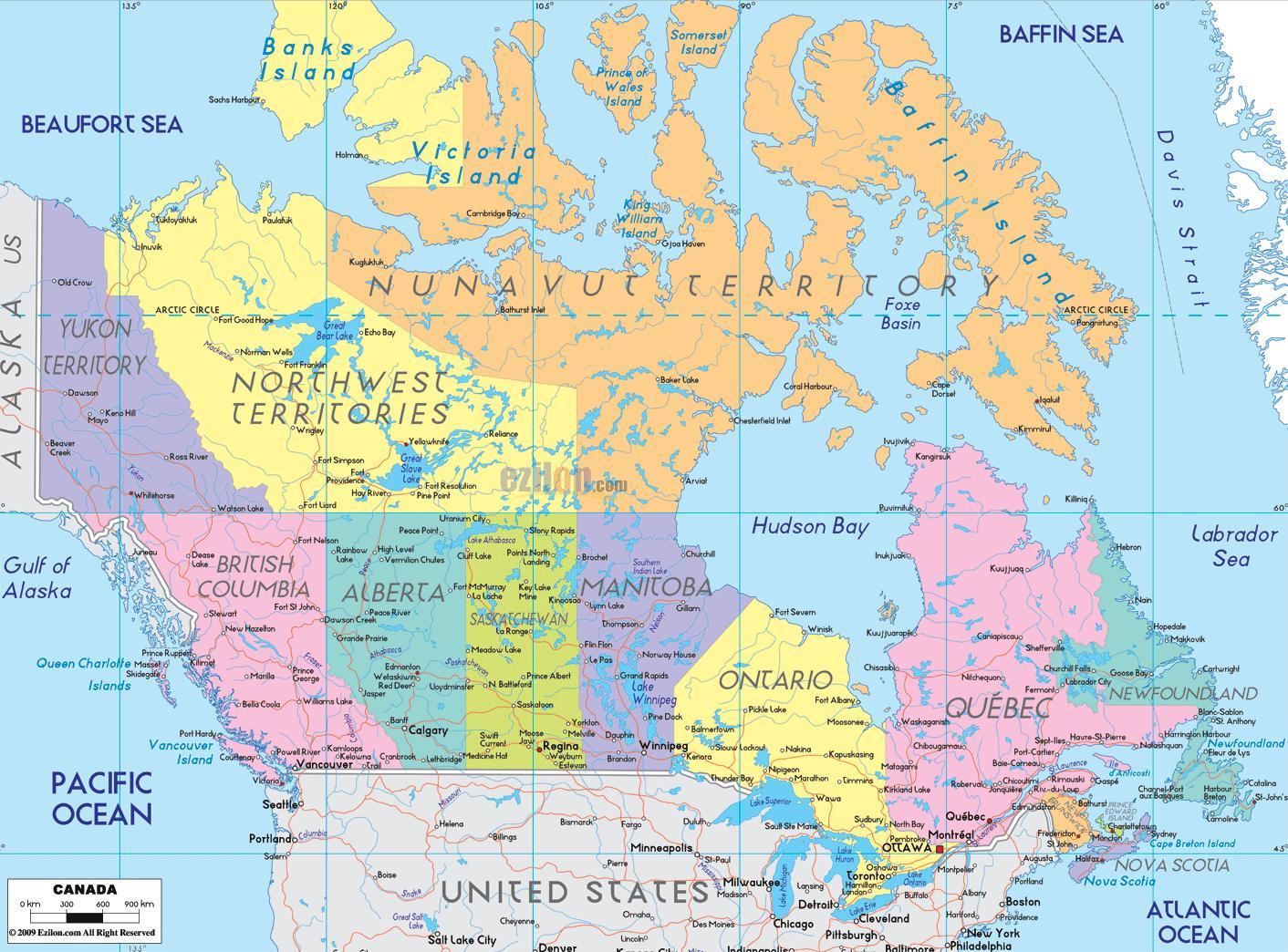 Karta Pa Kanada.Kanada Stader Karta Karta Over Kanada Visar Stader Nordamerika