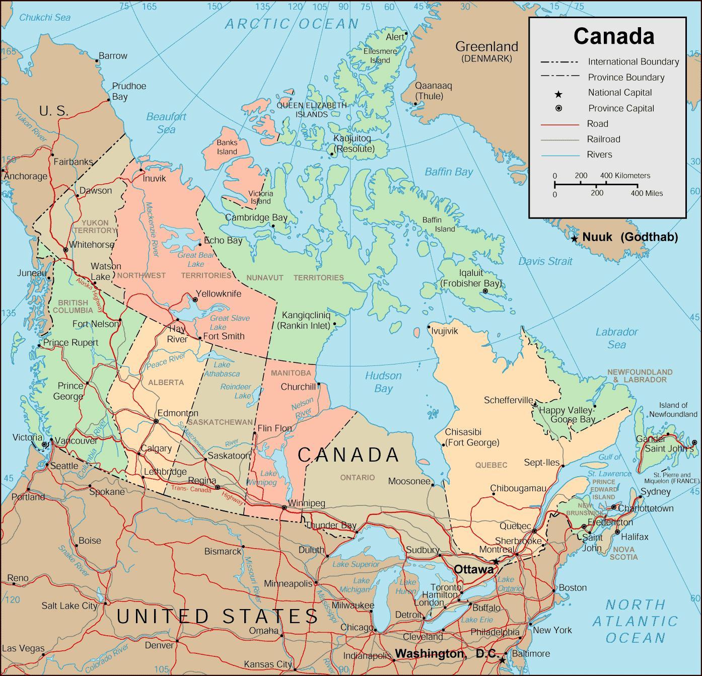 Karta Pa Kanada.Karta Over Kanada Med Stader Karta Over Kanada Och Stader