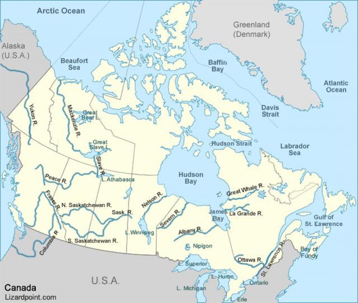 Karta Pa Kanada.Canada Water Karta Kanada Vattenvagar Karta Nordamerika Och Nord
