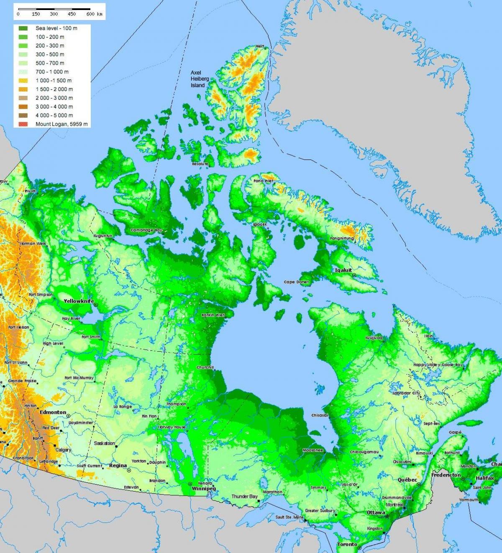Karta Pa Kanada.Kanada Terrang Karta Karta Over Kanada Terrang Nordamerika Och