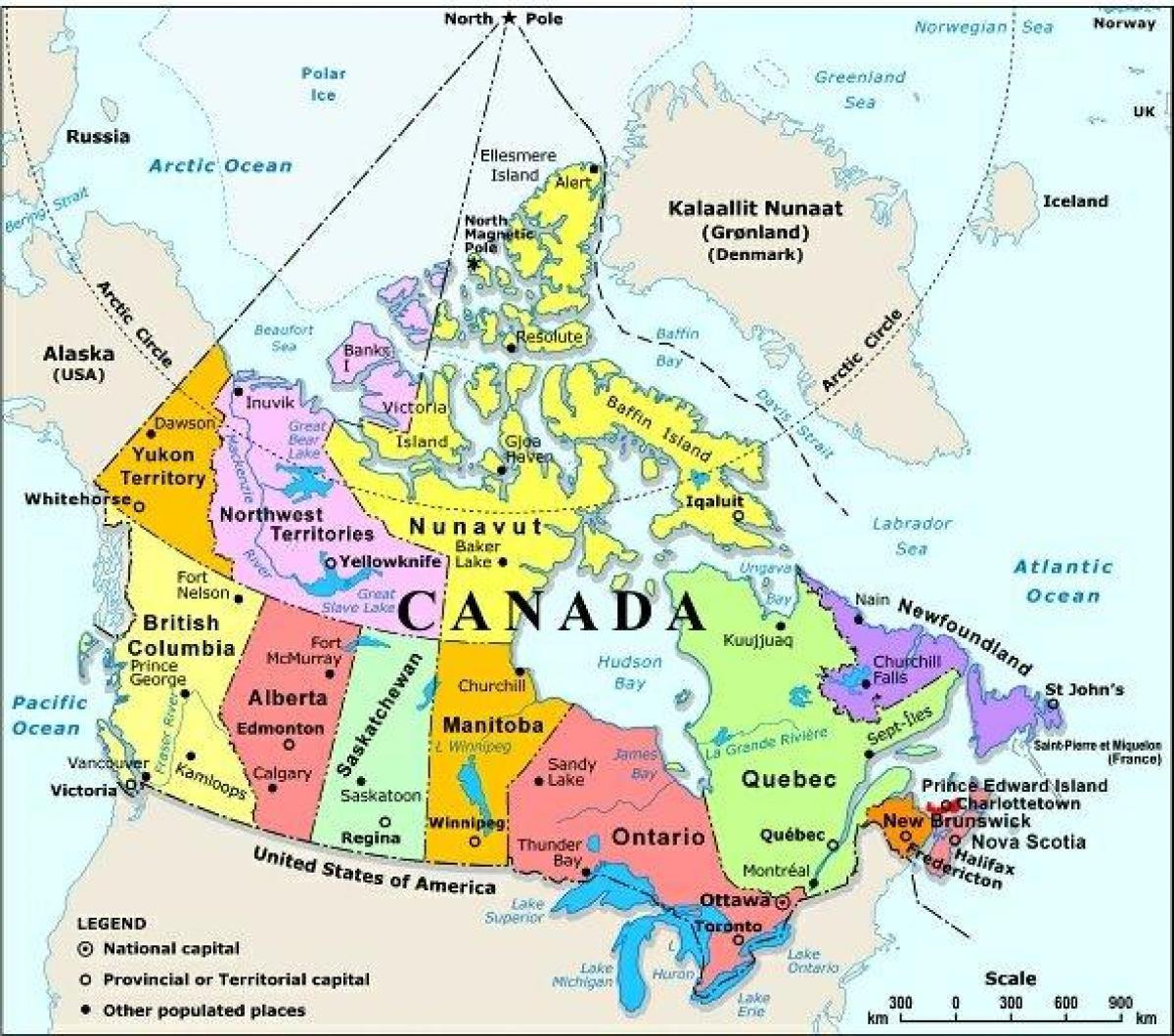 kanada karta Västra Kanada karta med städer   Karta över västra Kanada med  kanada karta